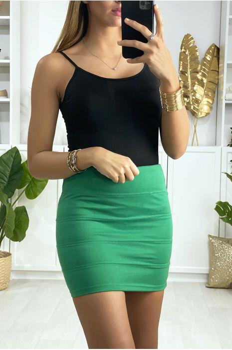 Mini jupe verte à bande avec fermeture au dos