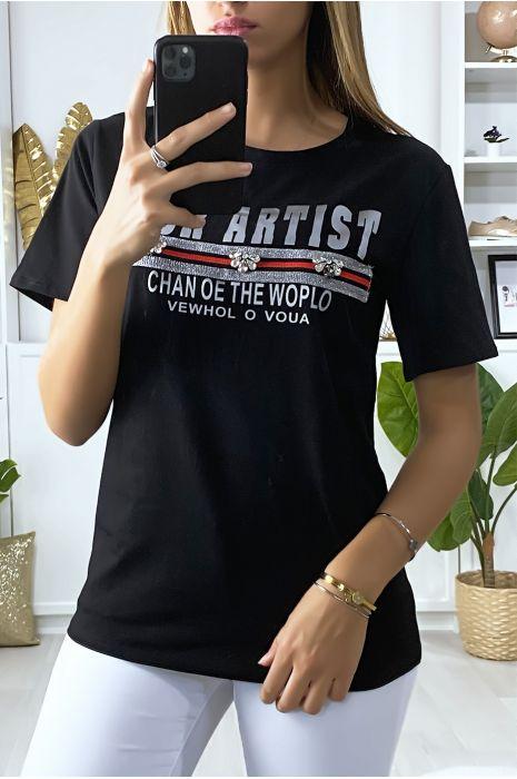 T-shirt noir avec écriture et strass