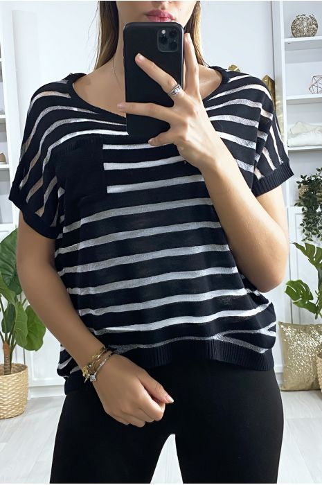 Top rayé noir semi transparent avec poche