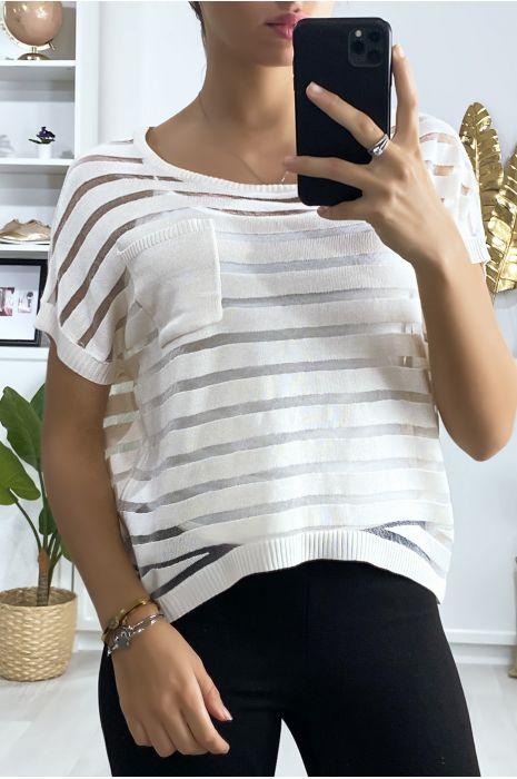Top rayé beige semi transparent avec poche