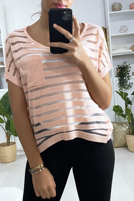 Semi transparent pink striped top with pocket