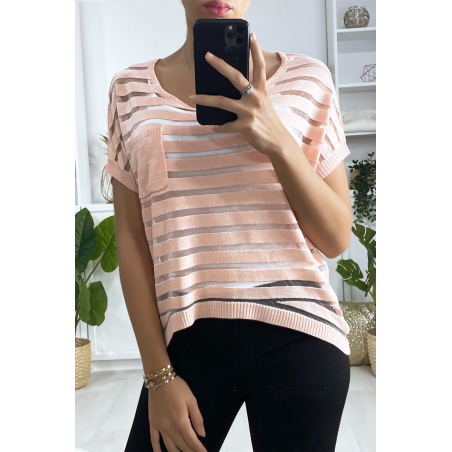 Top rayé rose semi transparent avec poche