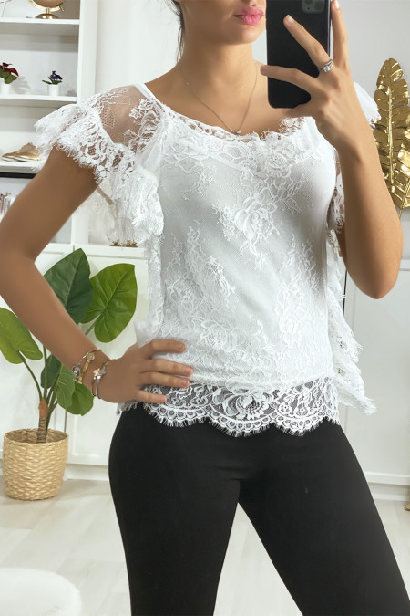 White lace top with ruffle sleeves