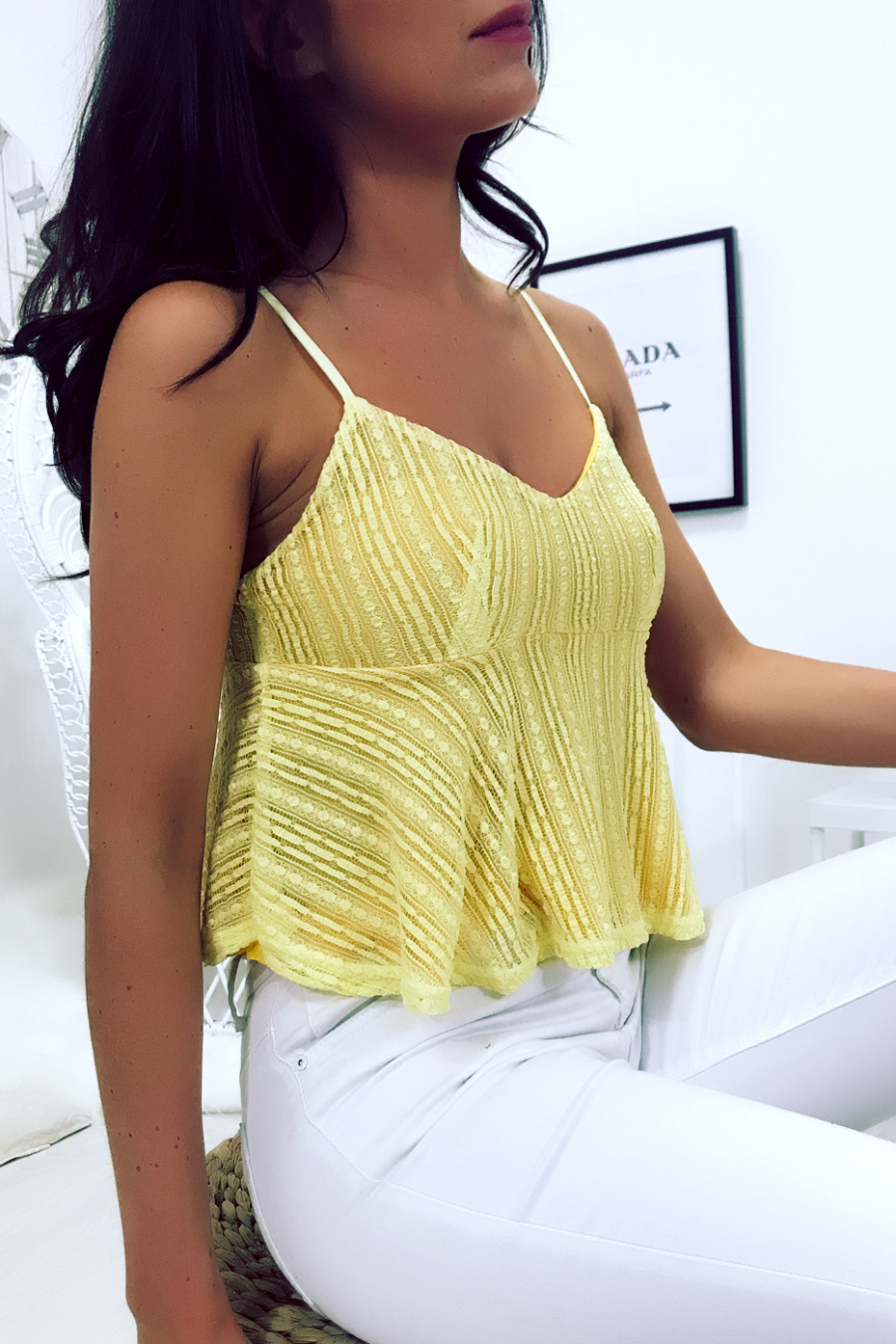 Yellow lace crop top with thin strap - F2638