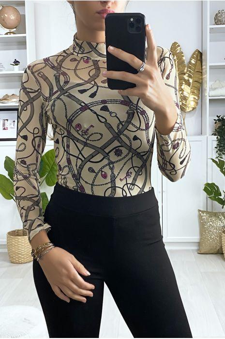 Transparante body met beige V-patroon hoge hals met sluiting aan de achterkant