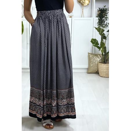 Longue jupe à motif noir et rouge avec poches