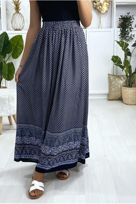 Longue jupe à motif marine avec poches