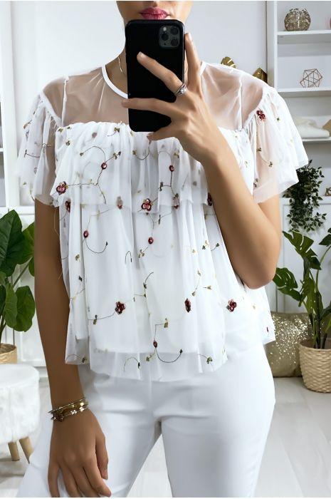 Witte blouse met ruche in geborduurde tule