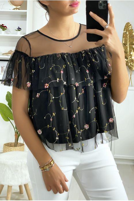 Zwarte blouse met ruche in geborduurde tule
