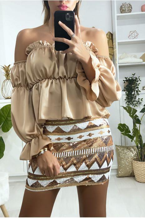 Mini jupe pailleté à l'avant avec motif à dominance camel