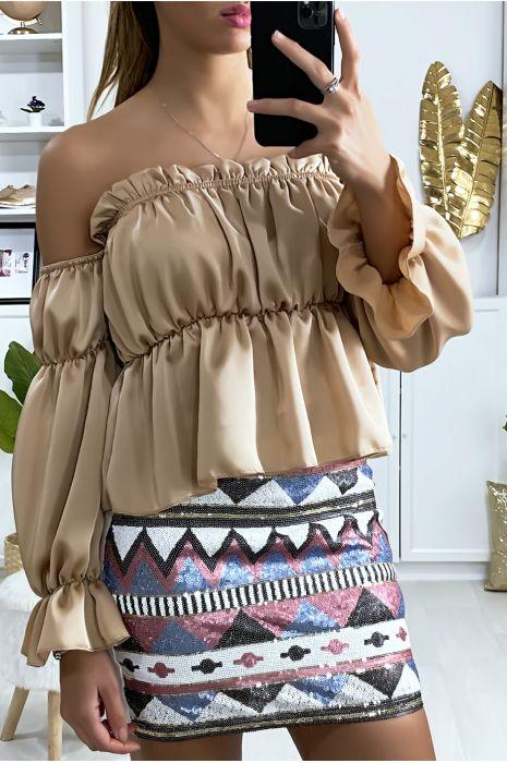 Mini jupe pailleté à l'avant avec motif à dominance rose