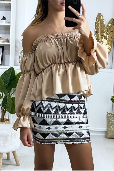 Mini jupe pailleté à l'avant avec motif à dominance noir