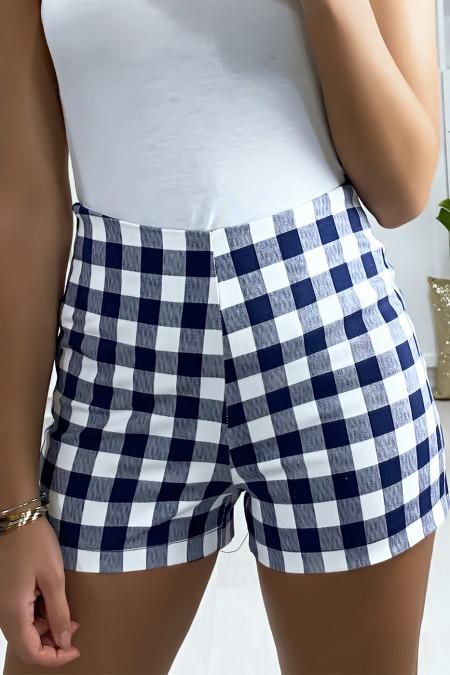 Blauwe geruite short met hoge taille en zijsluiting