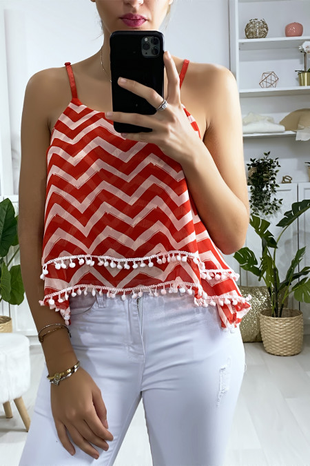 Red and white zigzag pattern tank top with ruffle and mini pompom