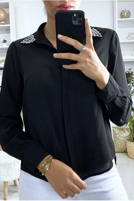 Zwart overhemd met strass steentjes op de kraag