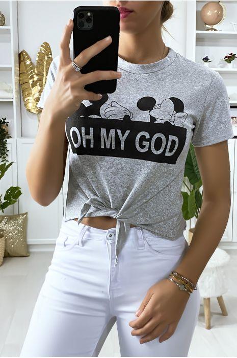 T-shirt gris avec noeud et écriture OH MY GOD