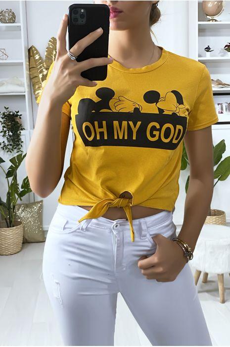 T-shirt moutarde avec noeud et écriture OH MY GOD