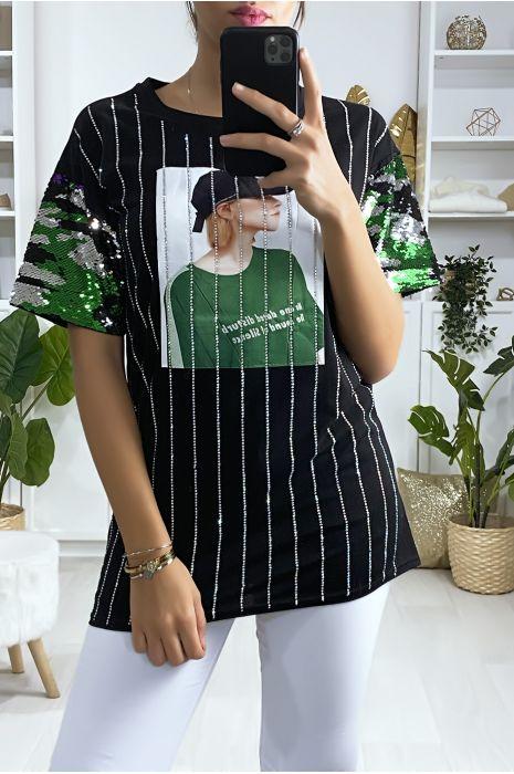 T-shirt noir avec paillette strass et dessin à l'avant