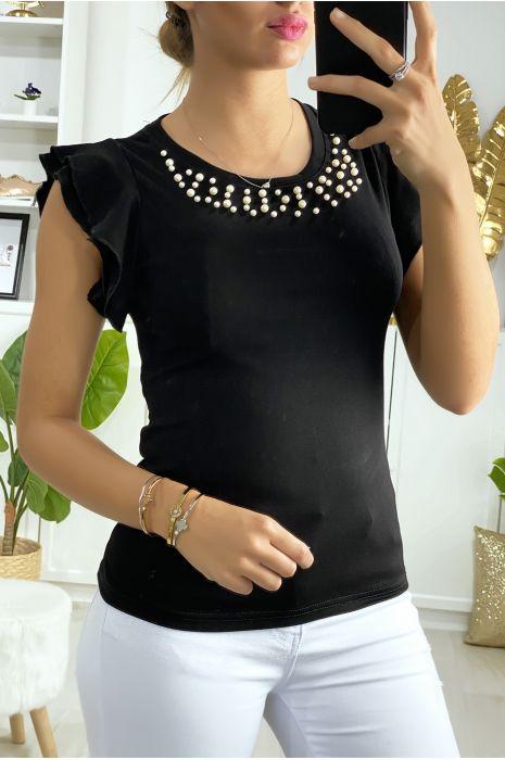 T-shirt noir avec perle et volant aux manches