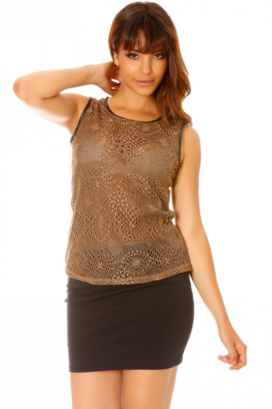 Transparent taupe tank top with sequined lace - C3012