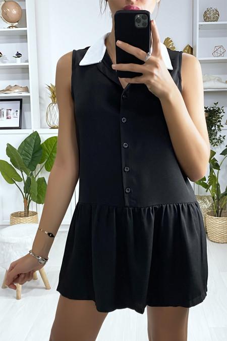 Black tennis girl style short dress with white collar