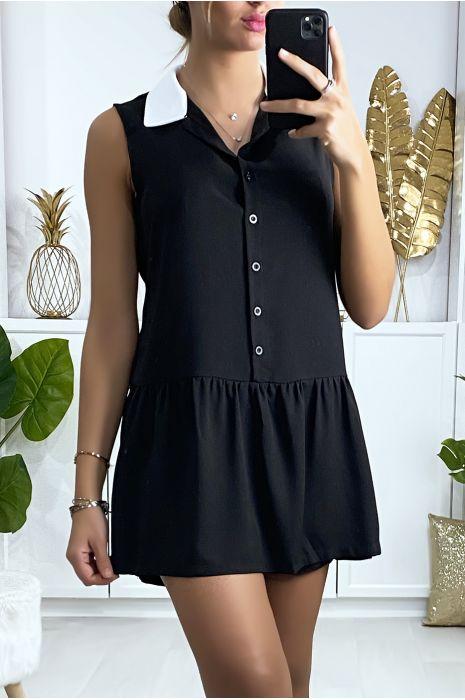 Robe short noir style tennis girl avec col blanc