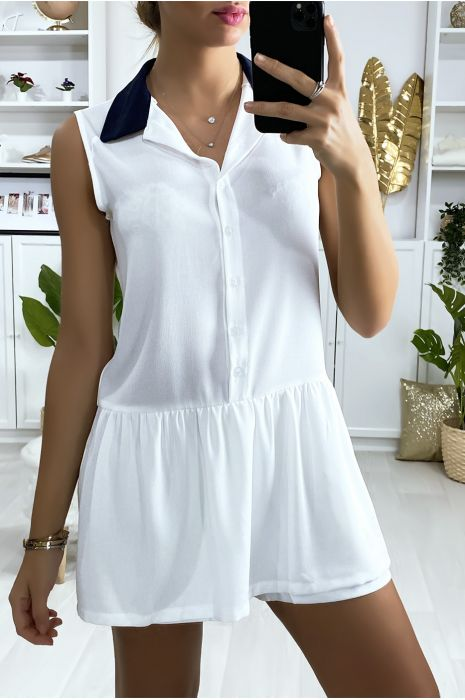 Robe short blanche style tennis girl avec col noir