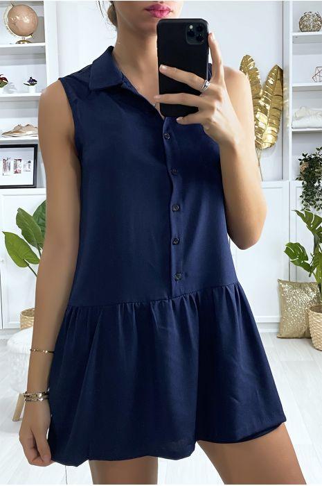 Korte marineblauwe jurk in tennisstijl met kraag voor meisjes