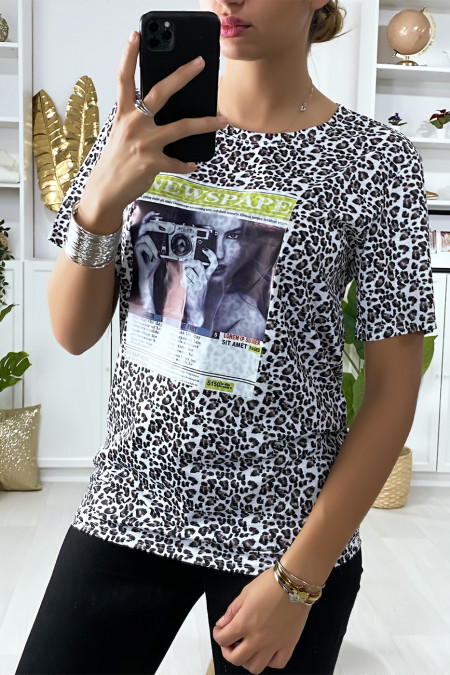 Black leopard print T-shirt with design on the front