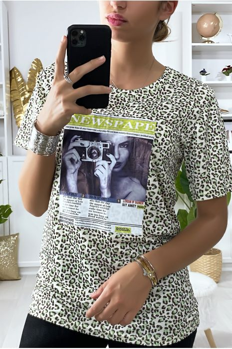 Groen luipaard print T-shirt met print op de voorzijde