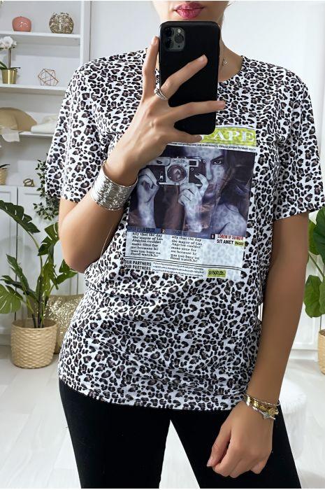 Zwart T-shirt met luipaardprint en print op de voorzijde