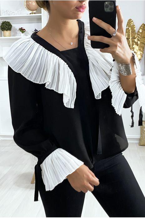 Blouse noir avec plissé au col et aux manches en blanc