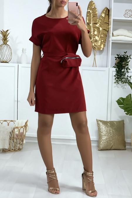 Zeer chique bordeauxrode jurk met zakje