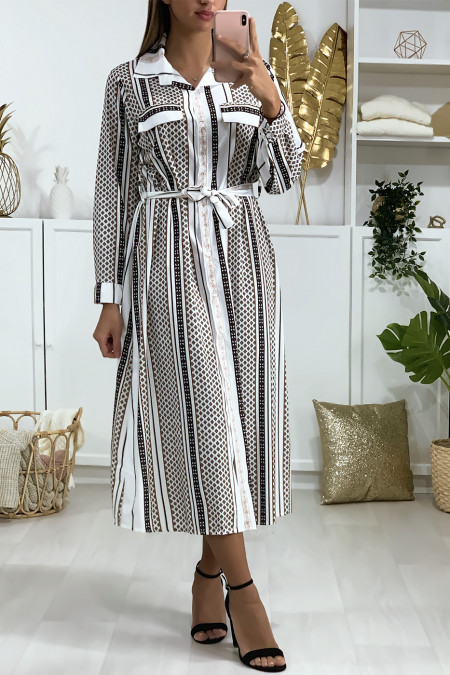 Jurk met knoop in wit patroon, riem en zakken