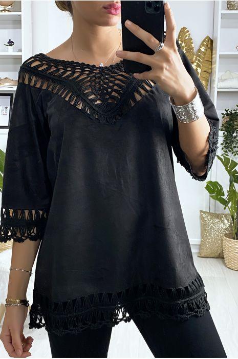 Zwarte suedette tuniek met borduursel