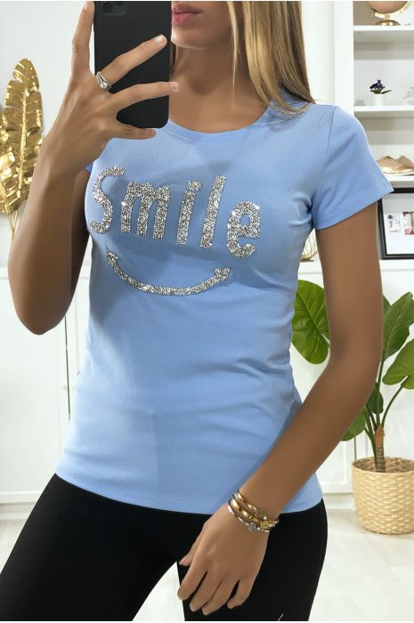 Tee-shirt bleu avec écriture SMILE en strass