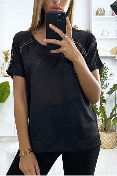 Tee-shirt noir très sportive avec fente et bandes doré