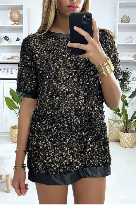 Tunique bi-matière noir et doré avec motif en relief et dentelle au dos