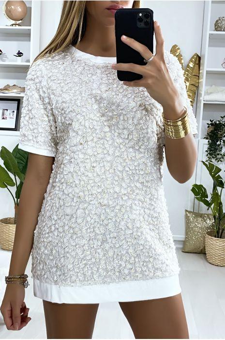 Tunique bi-matière blanc et doré avec motif en relief et dentelle au dos