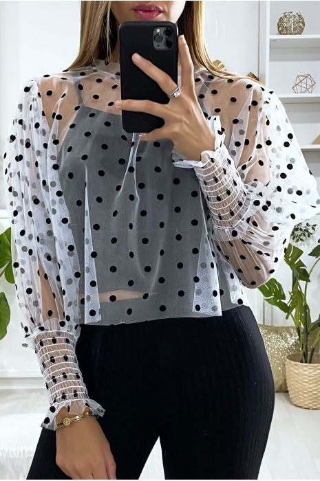 Witte voile blouse met kleine stippen en pofmouwen