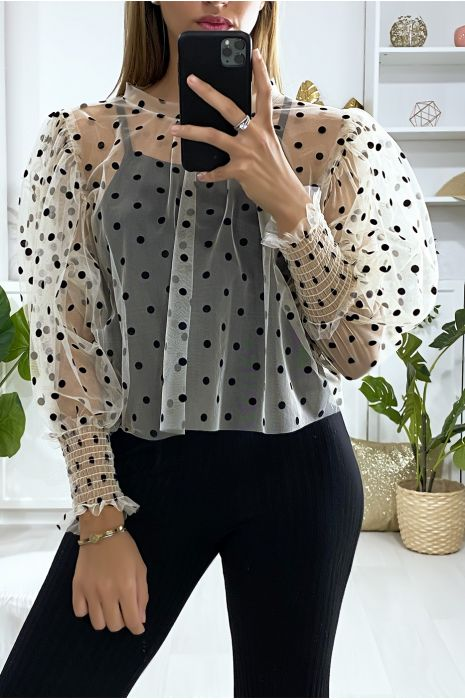 Beige voile blouse met kleine stippen en pofmouwen