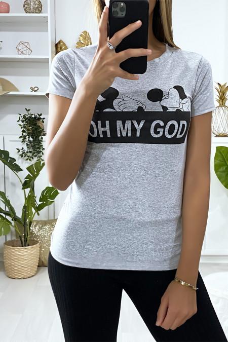 Grijs T-shirt met OH MY GOD tekenen en schrijven
