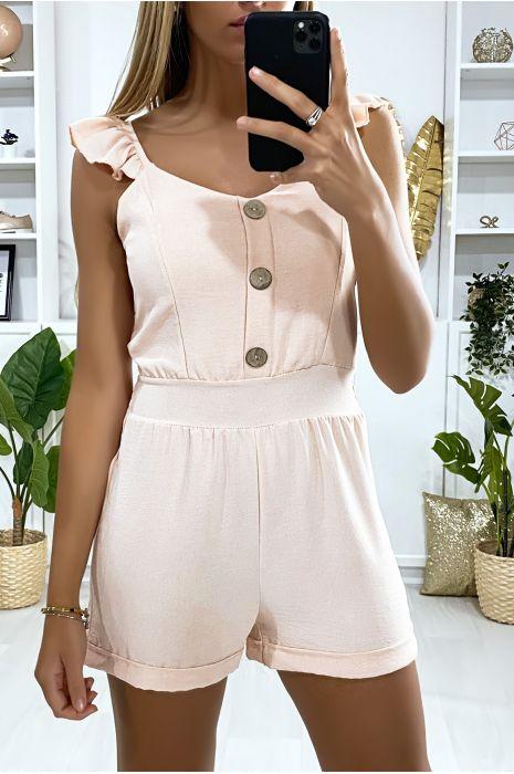 Roze jumpsuit met knoopjes en ruches aan de bandjes