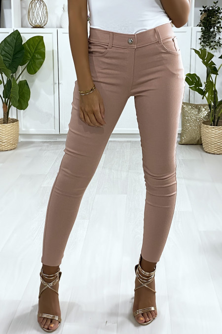 Pink slim pants, basic with front and back pocket