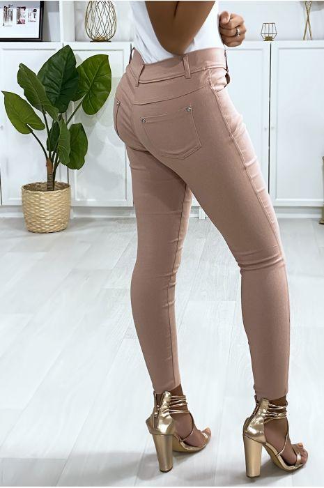 Pantalon slim rose, basic avec poche avant et arrière