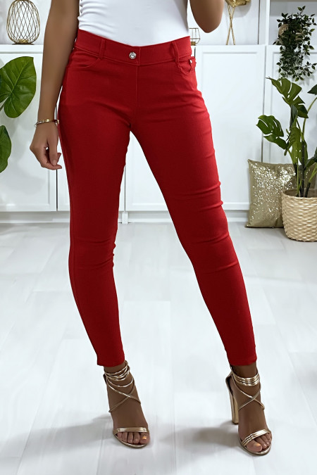 Red slim pants, basic with front and back pocket
