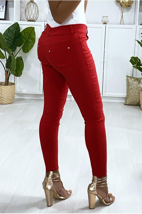 Pantalon slim rouge, basic avec poche avant et arrière