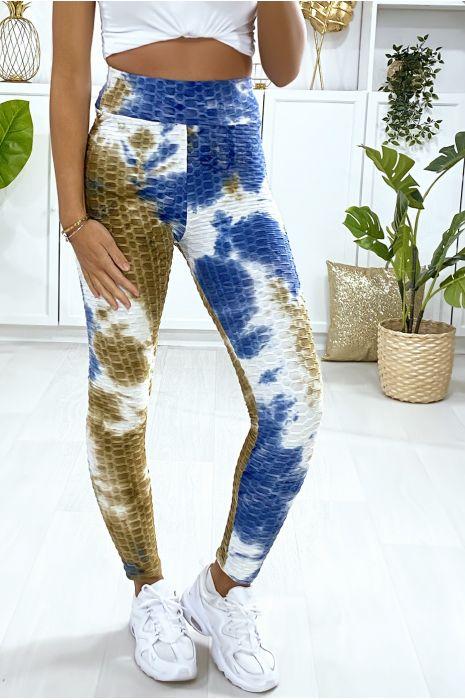 Legging Push Up motif Tie&die bleu très fashion