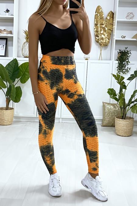 Zeer modieuze oranje Tie & die push-up legging
