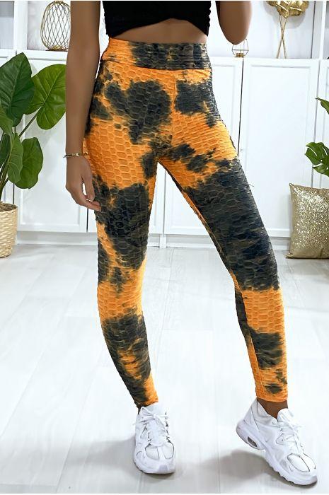 Legging Push Up motif Tie&die orange très fashion